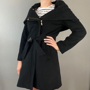 Cole Haan Asymmetrical Belted Black Wool Coat